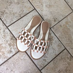 Miss Guided white with rose gold studded slides